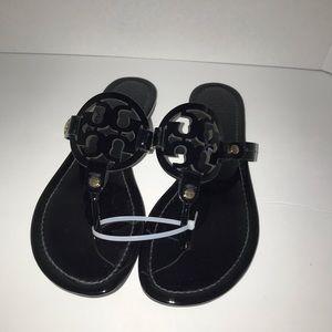 Tory Burch black patent miller sandals size 8
